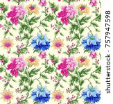 flower pattern with background | Shutterstock . vector #757947598