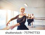 smiling senior woman practicing ... | Shutterstock . vector #757947733