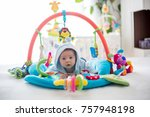 cute baby boy on colorful gym ... | Shutterstock . vector #757948198