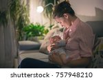 young beautiful mother ... | Shutterstock . vector #757948210