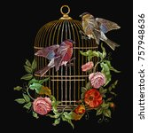 embroidery birds and birds cage ... | Shutterstock .eps vector #757948636