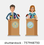 orator speaking from tribune ... | Shutterstock .eps vector #757948750
