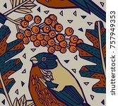 winter bird  pattern design. | Shutterstock .eps vector #757949353