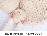 a ball of thick yarn and a... | Shutterstock . vector #757950334