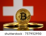 physical version of bitcoin ...   Shutterstock . vector #757952950