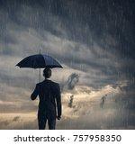 businessman with umbrella... | Shutterstock . vector #757958350