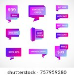 vector stickers  price tag ... | Shutterstock .eps vector #757959280