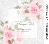 wedding card or invitation with ... | Shutterstock .eps vector #757964230