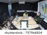 journalist broadcasting during... | Shutterstock . vector #757966834
