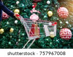 christmas shopping   woman... | Shutterstock . vector #757967008