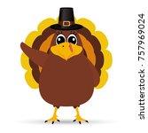 turkey pilgrimin on... | Shutterstock .eps vector #757969024