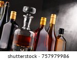 composition with carafe and... | Shutterstock . vector #757979986