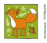 advent calendar. fox and... | Shutterstock .eps vector #757982290