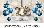 2018 happy new year background... | Shutterstock .eps vector #757983058