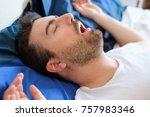 face close up of snoring man... | Shutterstock . vector #757983346