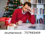 man worried and with economic... | Shutterstock . vector #757983409