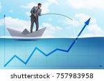 businessman supporting economic ... | Shutterstock . vector #757983958