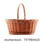 Empty wicker basket isolated on ...