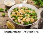 fusilli pasta with salmon ...   Shutterstock . vector #757985776