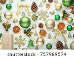 christmas decorations on white... | Shutterstock . vector #757989574