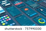close up view of mobile apps... | Shutterstock . vector #757990330