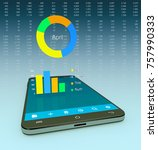smartphone with a financial app ...
