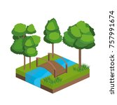isometric trees and river design | Shutterstock .eps vector #757991674
