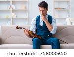 young musician man practicing... | Shutterstock . vector #758000650
