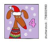 advent calendar. dog. santa... | Shutterstock .eps vector #758003980