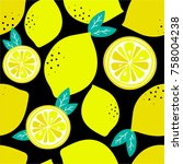 lemons background. hand drawn... | Shutterstock .eps vector #758004238