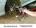 car spring shock absorber with... | Shutterstock . vector #758004499