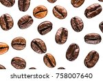 coffee beans top view with... | Shutterstock . vector #758007640