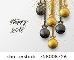 happy new year 2018. christmas... | Shutterstock .eps vector #758008726