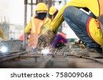 industrial welder welding... | Shutterstock . vector #758009068