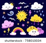 emotional sun and clouds  stars ... | Shutterstock .eps vector #758010034
