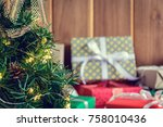 gifts and toys on wooden boards ... | Shutterstock . vector #758010436