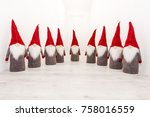 group of christmas elf with... | Shutterstock . vector #758016559