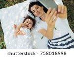 top view of happy young... | Shutterstock . vector #758018998