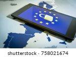 padlock and eu flag inside... | Shutterstock . vector #758021674