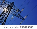 power line with sun | Shutterstock . vector #758025880