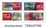 gift voucher gold template... | Shutterstock .eps vector #758029780