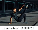 young man exercise outdoors   Shutterstock . vector #758030218