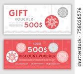gift voucher template. vector... | Shutterstock .eps vector #758038576
