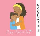 happy mother's day. african...   Shutterstock .eps vector #758038639