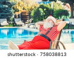 santa claus near the pool... | Shutterstock . vector #758038813