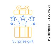 opened gift box and fireworks ... | Shutterstock . vector #758044894