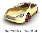 Golden sportcar on white. My own design - stock photo