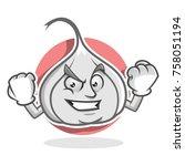 garlic character design or... | Shutterstock .eps vector #758051194