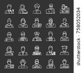 professions chalk icons set.... | Shutterstock .eps vector #758052034