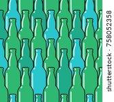 colored glass bottles seamless... | Shutterstock .eps vector #758052358